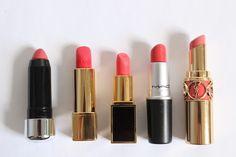 Top 5 | Coral Lipsticks L-R Marc Jacobs Heartbreaker, Chanel Melodieuse, Tom Ford Matthew, Mac Vegas Volt, YSL Peach Passion.