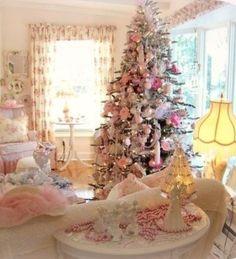 Albero di Natale 2014 Shabby Chic bianco e rosa