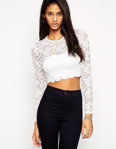 ASOS+Cropped+Top+With+Long+Sleeves+In+All+Over+Lace