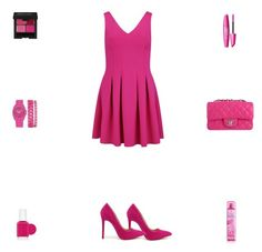 """Contest: Hot Pink Outfit"" by billsacred ❤ liked on Polyvore featuring Anne Klein, Liliana, ONLY, Chanel and Essie"