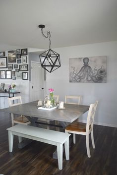 spring dining room ideas, Spring home tour with simple ideas, crafts, DIY projects. All with bold colors and a coastal/rustic look to the home.