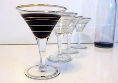 Vintage Set of 4 Silver Rimmed Martini / Champagne / Wine Glasses - Mad Men / Mid century Style w/ Silver and Frosted Rim or Rings by FourthEstateSale on Etsy https://www.etsy.com/listing/219128236/vintage-set-of-4-silver-rimmed-martini