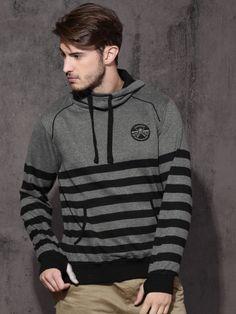 Winter Wear For Men, Black Stripes, Hooded Sweatshirts, Graphic Sweatshirt, Grey, Long Sleeve, Sweaters, Mens Tops, How To Wear