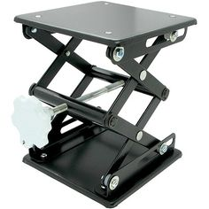 """Laboratory Scissor Jack - Black Enamel at xUmp.com Designed for supporting glassware and other lab items at a stable and precise height, the scissor jacks can extend to a maximum height of 10"""". The plate size is approximately 6"""" X 6"""". An essential piece of equipment for any labware setting!!"""