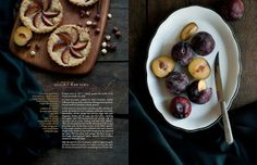 """I have used this image as an inspiration for for the middle pages of the magazine. The combination of two images covering the whole page and introducing text on the front was used also in """"Ecco Ideas"""" magazine. Food Magazine Layout, Ideas Magazine, Recipe Cards, Recipe Box, Plum Tart, Food For Thought, Dissertation Writing, Food Photography, Food Porn"""