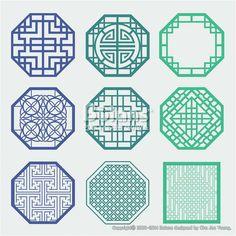 한국의 전통 창틀 무늬문양 세트. 한국 전통문양 패턴디자인. (BPTD020177) Korean old of Window Frame Symbol sets. Korean traditional Pattern is a Pattern Design. Copyrightⓒ2000-2014 Boians.com designed by Cho Joo Young.