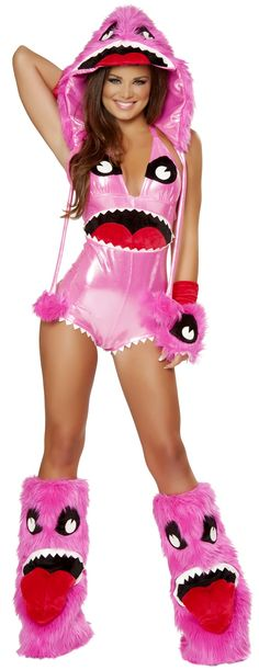 Pink Monster Costume http://www.envycorner.com/pink-monster-costume.html JVJJ178 Hot Pink #Sexy Metallic #Romper by J Valentine features a Metallic Tie Back Neck Romper with Monster Eyes and Mouth details on the Front. Made in USA and Includes Romper Only. J Valentine styles are cut for a sexy fit. #envycorner #ravewear #forwomen