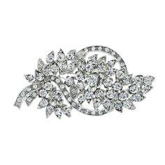 "Vintage Style Crystal Brooch, 3"" long, non-tarnishing rhodium plate | Giavan"