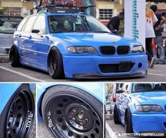 BMW E46 3 series Touring blue slammed