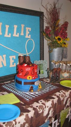 Cowboy baby shower my daughter and I gave for my daughter-n-law Kelly.