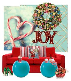 """""""Christmas Joy..."""" by kimberlyd-2 ❤ liked on Polyvore featuring interior, interiors, interior design, home, home decor, interior decorating, York Wallcoverings, Order Home Collection, Cappellini and Jimmy Choo"""