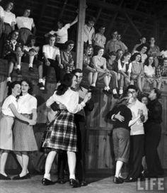 U.S. School dance, 1940s found photo print ad magazine students models life plaid skirt blouse flat shoes