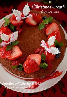 リース仕立てのガーナッシュケーキ