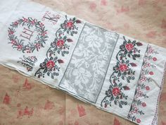 Hand embroidery Table Runners Antique homespun antique