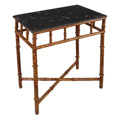 Black Marble Top with Faux Bamboo Iron Base
