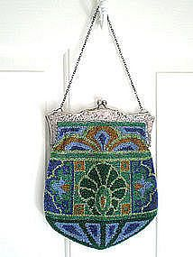 art nouveau glass beaded purse