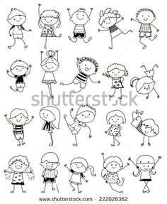 Group of kids,drawing sketch - stock vector