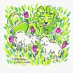 Lilly Pulitzer Preppy & Whimsical Art - Prints, Patterns, Paintings, Doodles, & Sketches - Lion, Lamb