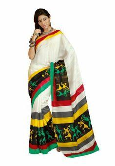 #designersareeus #Bollywood #Designer #Bhagalpuri #Silk #White #Coloured #Printed #Saree (OEKSR9246VPS) fabdeal, http://www.amazon.in/dp/B00IXGIZLY/ref=cm_sw_r_pi_dp_ERnwtb12FZV8H