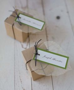 Michaels.com Wedding Department: Natural Fern Favor There's elegance in simplicity and these Kraft favor boxes capture that natural elegance, embellished with twine, leaves and Gartner Studios® ivory tags. Courtesy of Gartner Studios®