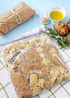 Rosemary Chicken and Potato Dinner - Easy peasy with a freeze ahead prep and a crock pot cook