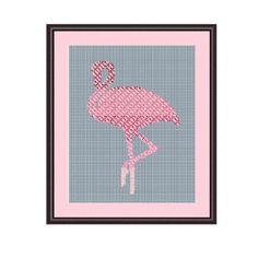 Pink Flamingo Counted Cross Stitch Pattern. PDF Instant Download. Pattern. Decor Pattern. Animals Pattern.