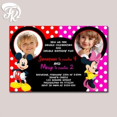 Mickey and Minnie Double Party Birthday Party Card Digital Invitation With Photo…