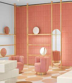 Home Decoration Design Ideas Interior Rugs, Cafe Interior, Shop Interior Design, Retail Design, Interior Decorating, Store Interiors, Dark Interiors, Jewelry Store Design, Gold Rooms