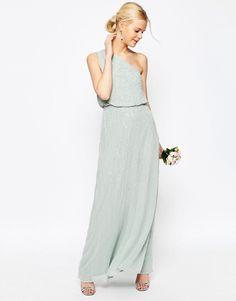 Image 1 ofASOS WEDDING Embellished One Shoulder Maxi Dress