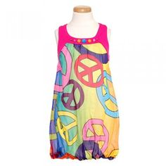 Lipstik Designer Pink Peace Sign Jewel Bubble Casual Dress Girls 2T-14