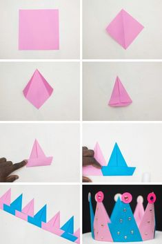 Paper Folding For Kids, Paper Folding Crafts, Origami Paper Folding, Paper Crafts Origami, Paper Crafts For Kids, Preschool Crafts, Diy Paper, Origami For Children, Kids Origami