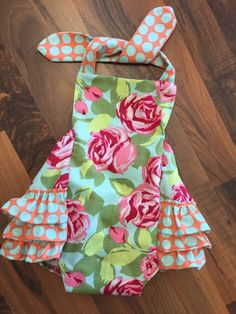 Baby girl bubble romper rose floral tula dot by PeacebyPiece01
