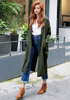 @roressclothes closet ideas #women fashion outfit #clothing style apparel High Waist Jeans and Green Trench Coat via