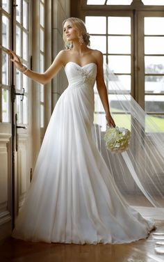 2014 Charming White Chiffon Pleat Maternity Bridal Gown Bride Wedding Dress Long