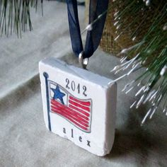 Personalized USA Flag Ornament