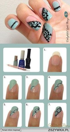 Lace-effect nails. This looks doable on my left hand lol I wish i was as good on my right!