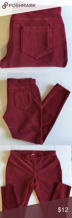 """June & Daisy Corduroy Jeggings Yes!  You NEED these jeggings!   Soft, comfortable and stylish.  Add some color to your wardrobe.  Add a cardigan and boots for a great look.  Color:  Maroon. Material:  54% Cotton/42% Polyester/2% Spandex.   Measurements:  Length - 38""""/ Waist - 16.5""""/Inseam - 29"""" June & Daisy Pants Leggings"""
