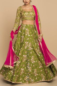 Olive Embroidered Lehenga with Rani Party Wear Indian Dresses, Designer Party Wear Dresses, Indian Gowns Dresses, Indian Bridal Outfits, Pakistani Bridal Dresses, Dress Indian Style, Indian Fashion Dresses, Pakistani Dress Design, Indian Designer Outfits