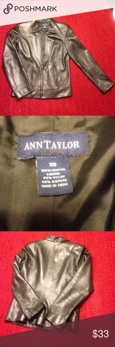 Anne Taylor Black Leather Jacket Anne Taylor 100% leather jacket size XS used in great condition Ann Taylor Jackets & Coats
