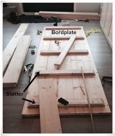 Bilderesultat for snekre bordplate Diy Farmhouse Table, Picnic Table, Outdoor Tables, Diy And Crafts, Dining Table, Lag, Wood, Furniture, Camping