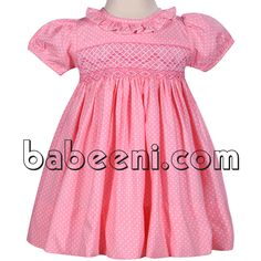 Adorable geometric smocked pink dress for girls http://babeeni.com/Detail-adorable-geometric-smocked-pink-dress-for-girls---dr-2261-6126.aspx