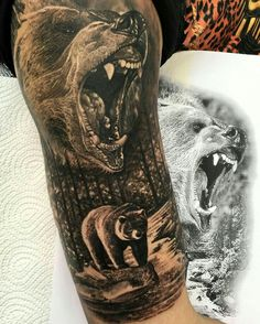 Grizzly half sleeve tattoo tattoos, bear tattoos и animal ta Natur Tattoo Arm, Natur Tattoos, Trendy Tattoos, Cool Tattoos, Tattoo Ink, Body Art Tattoos, Henna Tattoos, Tattoo Avant Bras, Grizzly Bear Tattoos