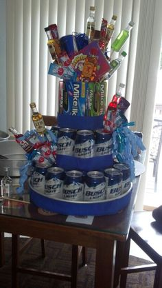 Boyfriends birthday cake! Change beer to water and add favorite snacks