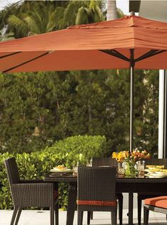 Provide comfortable, cool shade for your guests without cords or cranks with the Outdoor Easy Shade Umbrella; an innovative design available in an array of sizes to meet your entertaining needs.