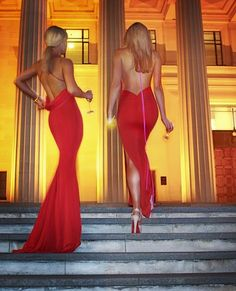 Love the dress on the left. Backless red formal dress http://www.gemelipower.com/collections/gemeli-power-signature-label/products/barthelemy