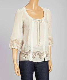 Another great find on #zulily! Light Taupe Embroidered Peasant Top #zulilyfinds