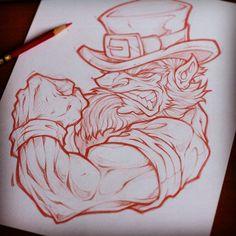 Working on some St. Tattoo Sketches, Tattoo Drawings, Drawing Sketches, Leprechaun Tattoos, Irish Tattoos, Celtic Tattoos, Arte Grunge, Arte Punk, Tribal Tattoos