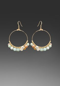 KENNETH JAY LANE Gold Hoop Earrings with Light Mint Alabaster