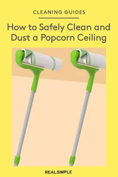 How to Clean a Popcorn Ceiling (Because It's a Dust Magnet)   Here's how to safely clean a popcorn ceiling and remove dust the easy way—plus a more advanced cleaning method for stains. #organizationtips #realsimple #howtoclean #cleaningtips #cleaninghacks Safe Cleaning Products, House Cleaning Tips, Green Cleaning, Spring Cleaning, Cleaning Hacks, Household Chores, Household Tips, How To Clean Clams, Popcorn Ceiling