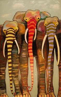 Painted Elephant Trio with Gold and Copper Toes under Clouds 2009  oil on recycled wood, 3' x 5' by Eli Halpin
